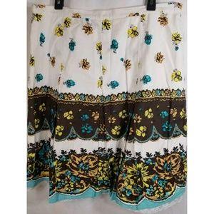 Valerie Stevens Skirt Floral Box Pleated s…